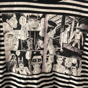 Vintage striped horror manga tee